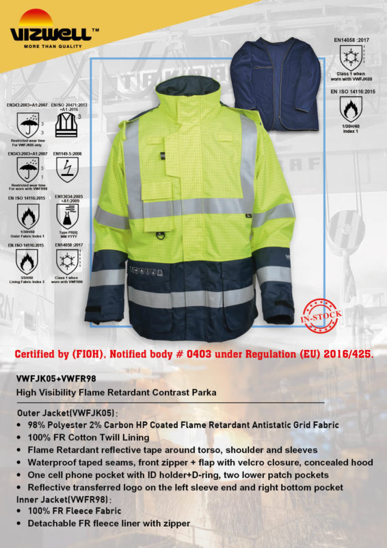 Multi Norm Flame Retardant Jackets With Newest Certificate